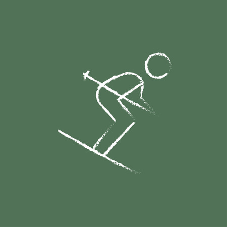 downhill skiing: Downhill skiing hand drawn in chalk on a blackboard vector white icon isolated on a green background.