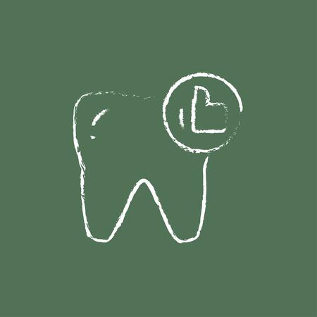 健康な歯の手が緑の背景に分離された黒板白ベクトル アイコンにチョークで描かれました。