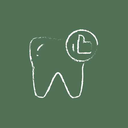 cleanliness: Healthy tooth hand drawn in chalk on a blackboard vector white icon isolated on a green background. Illustration