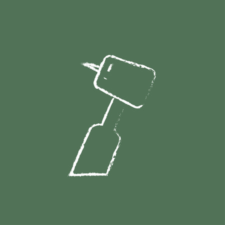 cleanliness: Dental drill hand drawn in chalk on a blackboard vector white icon isolated on a green background.