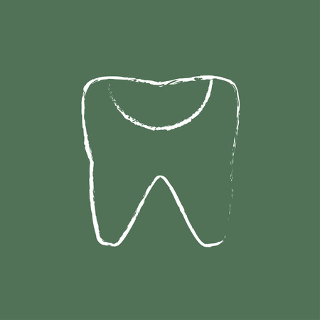 decay: Tooth decay hand drawn in chalk on a blackboard vector white icon isolated on a green background.