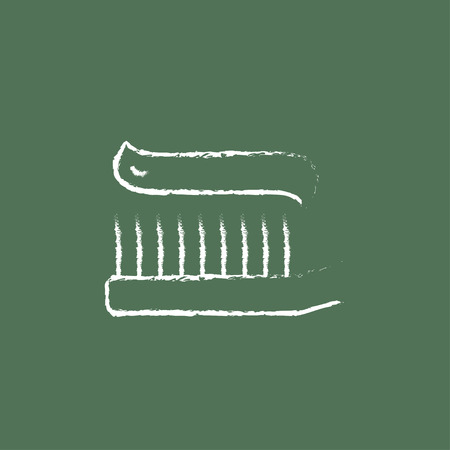 cleanliness: Toothbrush with toothpaste hand drawn in chalk on a blackboard vector white icon isolated on a green background.