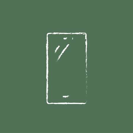 phone in hand: Mobile phone hand drawn in chalk on a blackboard vector white icon isolated on a green background.