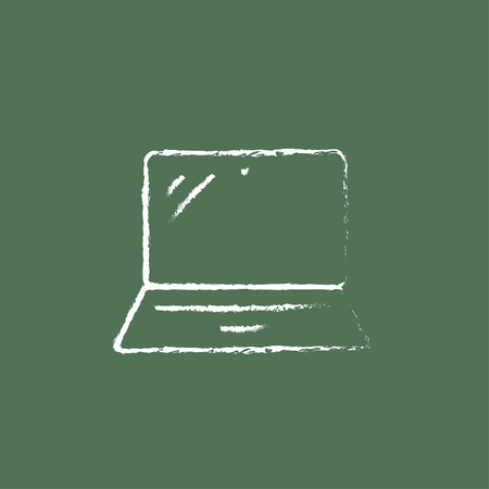 lcd display: Laptop hand drawn in chalk on a blackboard vector white icon isolated on a green background.