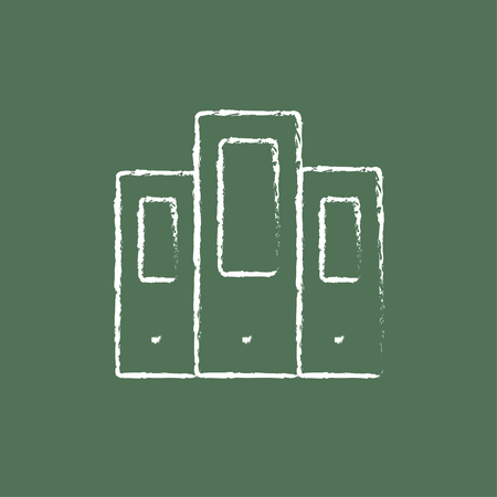 Folders sketch icon for web, mobile and infographics. Hand drawn vector dark grey icon isolated on light green background.