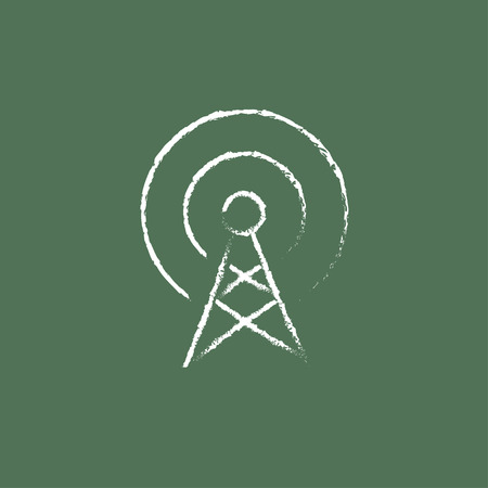 space television: Antenna hand drawn in chalk on a blackboard vector white icon isolated on a green background.