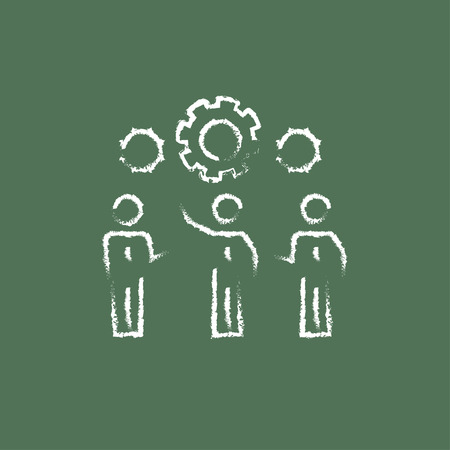 teamwork people: Businessmen under the gear hand drawn in chalk on a blackboard vector white icon isolated on a green background.