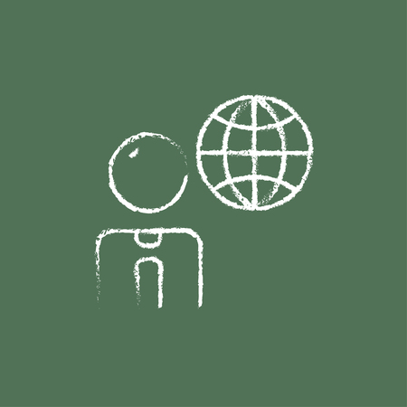 globe hand: Businessman with globe hand drawn in chalk on a blackboard vector white icon isolated on a green background.