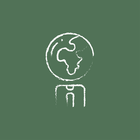 transnational: Human with globe head hand drawn in chalk on a blackboard vector white icon isolated on a green background. Illustration