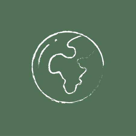 緑の背景に分離された黒板白ベクトル アイコンにチョークで描かれたグローブ手。  イラスト・ベクター素材