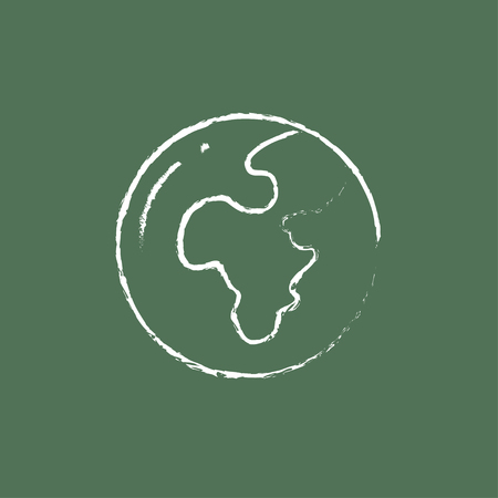 globe hand: Globe hand drawn in chalk on a blackboard vector white icon isolated on a green background. Illustration
