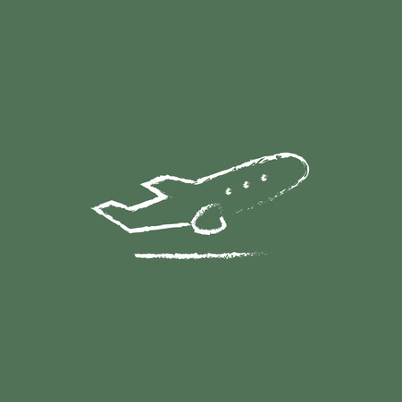 plane vector: Plane taking off hand drawn in chalk on a blackboard vector white icon isolated on a green background. Illustration