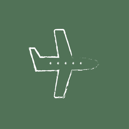 illuminator: Flying airplane hand drawn in chalk on a blackboard vector white icon isolated on a green background.