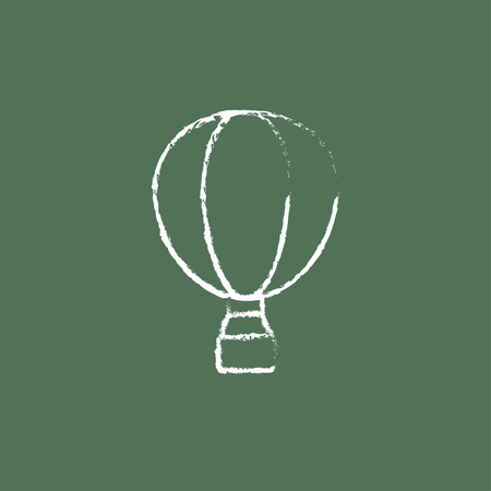 balon: Hot air hand drawn in chalk on a blackboard vector white icon isolated on a green background. Illustration