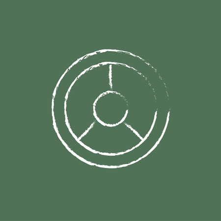 Steering wheel hand drawn in chalk on a blackboard vector white icon isolated on a green background. Illustration