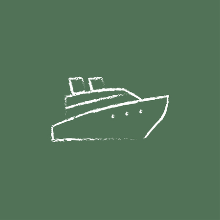 hull: Cruise ship hand drawn in chalk on a blackboard vector white icon isolated on a green background. Illustration
