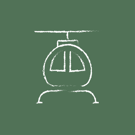 fuselage: Helicopter hand drawn in chalk on a blackboard vector white icon isolated on a green background.