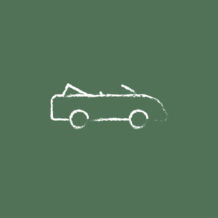 convertible car: Convertible car hand drawn in chalk on a blackboard vector white icon isolated on a green background. Illustration