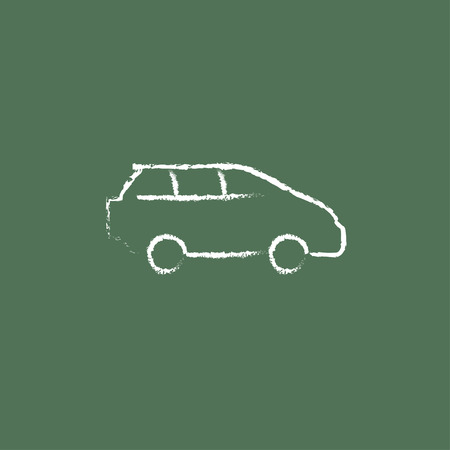 minivan: Minivan hand drawn in chalk on a blackboard vector white icon isolated on a green background.