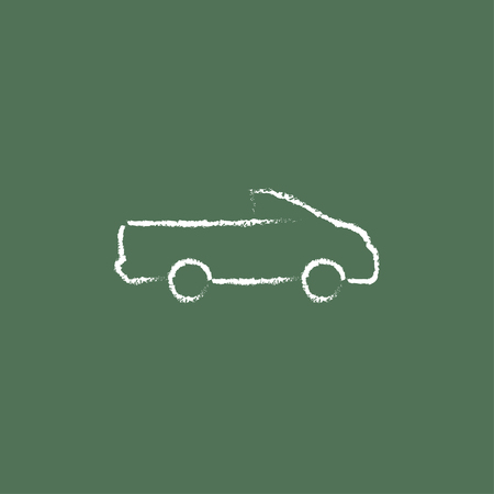 pick up: Pick up truck hand drawn in chalk on a blackboard vector white icon isolated on a green background.