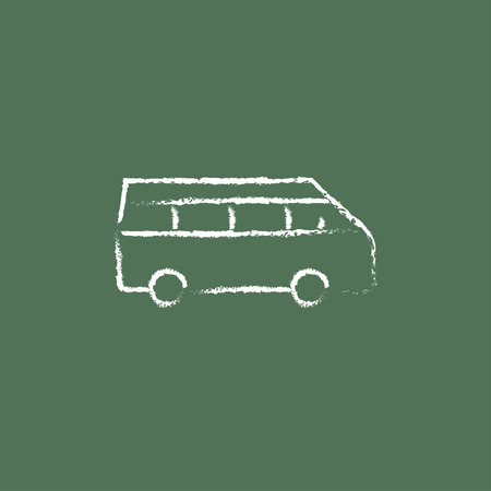omnibus: Minibus hand drawn in chalk on a blackboard vector white icon isolated on a green background. Illustration