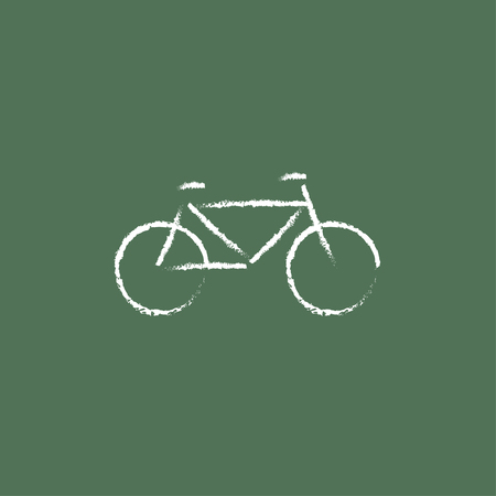 Bicycle hand drawn in chalk on a blackboard vector white icon isolated on a green background. Ilustração