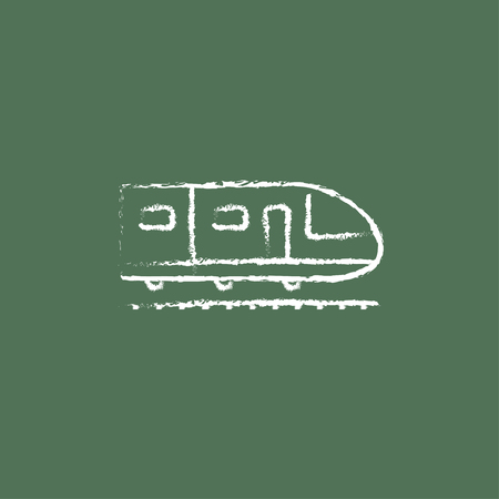 high speed: Modern high speed train hand drawn in chalk on a blackboard vector white icon isolated on a green background. Illustration