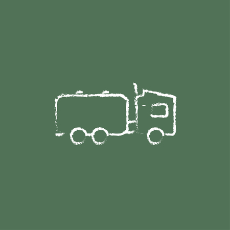Truck liquid cargo hand drawn in chalk on a blackboard vector white icon isolated on a green background.