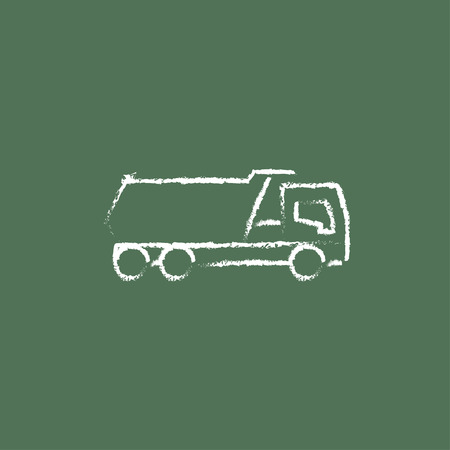 quicksand: Dump truck hand drawn in chalk on a blackboard vector white icon isolated on a green background.