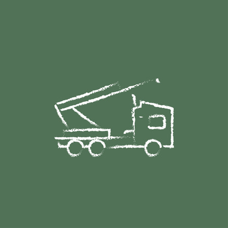 Machine with a crane hand drawn in chalk on a blackboard vector white icon isolated on a green background. Иллюстрация