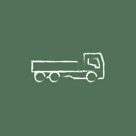 to unload: Dump truck hand drawn in chalk on a blackboard vector white icon isolated on a green background.