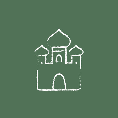 Orthodox church hand drawn in chalk on a blackboard vector white icon isolated on a green background. Çizim