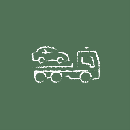 Car towing truck hand drawn in chalk on a blackboard vector white icon isolated on a green background. Illustration
