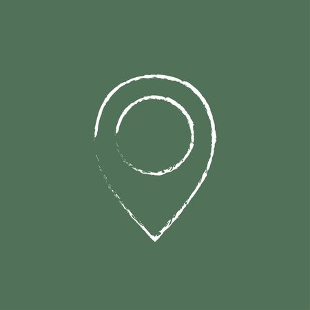 drawing pin: Map pointer hand drawn in chalk on a blackboard vector white icon isolated on a green background.