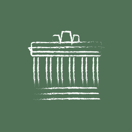 Acropolis of Athens hand drawn in chalk on a blackboard vector white icon isolated on a green background.