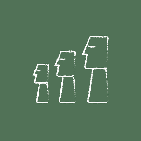 ancient civilization: Moai statues on Easter Island hand drawn in chalk on a blackboard vector white icon isolated on a green background.