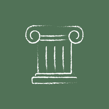 Ancient column hand drawn in chalk on a blackboard vector white icon isolated on a green background. Ilustrace