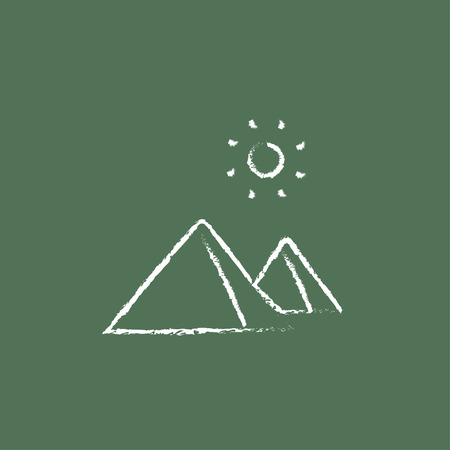 cheops: Egyptian pyramids hand drawn in chalk on a blackboard vector white icon isolated on a green background.