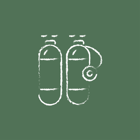 compressed gas: Oxygen tank hand drawn in chalk on a blackboard vector white icon isolated on a green background.