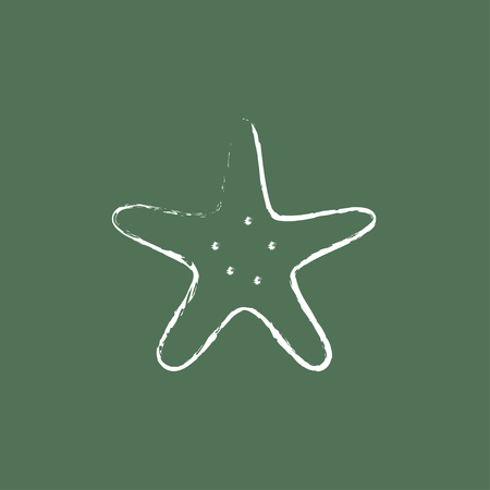 seafish: Starfish hand drawn in chalk on a blackboard vector white icon isolated on a green background. Illustration