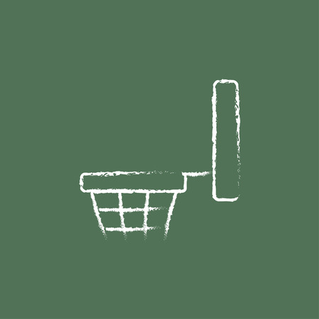 Basketball hoop hand drawn in chalk on a blackboard vector white icon isolated on a green background.