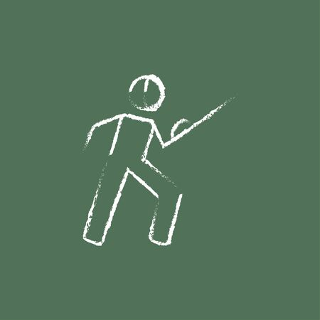 sward: Fencing hand drawn in chalk on a blackboard vector white icon isolated on a green background. Illustration