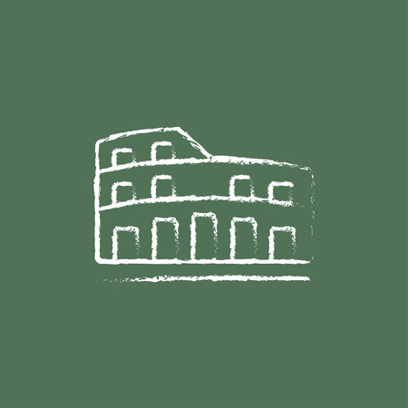 Coliseum hand drawn in chalk on a blackboard vector white icon isolated on a green background.