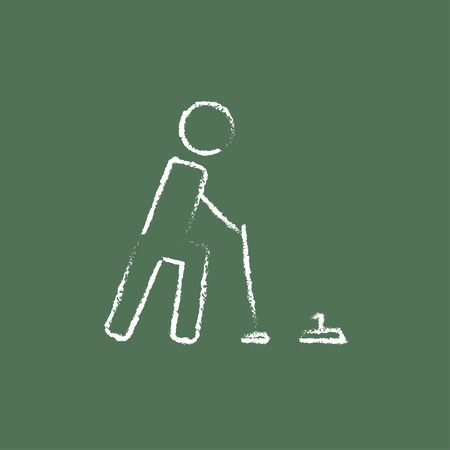 Curling hand drawn in chalk on a blackboard vector white icon isolated on a green background. 矢量图像