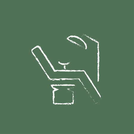 seated: Dental chair hand drawn in chalk on a blackboard vector white icon isolated on a green background.