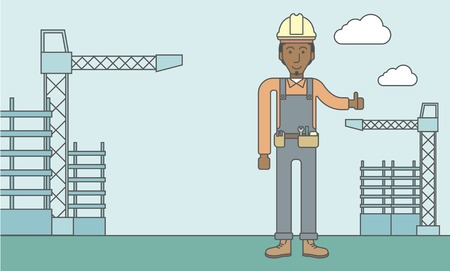 construction equipment: Smiling african-american builder with thumbs up at construction site. Vector line design illustration. Horizontal layout with a text space.