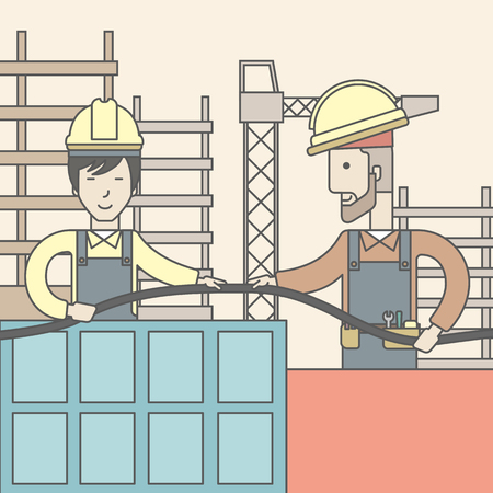 industrial design: Two builders wearing hard hat working on construction site with hose. Vector line design illustration. Square layout. Illustration