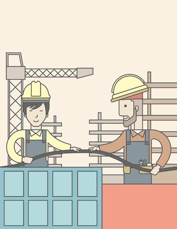 trabajando duro: Dos constructores llevaban casco de trabajo en el sitio de la construcción con la manguera. Línea de la ilustración del vector de diseño. Diseño vertical con un espacio de texto. Vectores