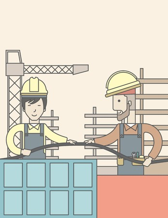 hard hat: Two builders wearing hard hat working on construction site with hose. Vector line design illustration. Vertical layout with a text space. Illustration