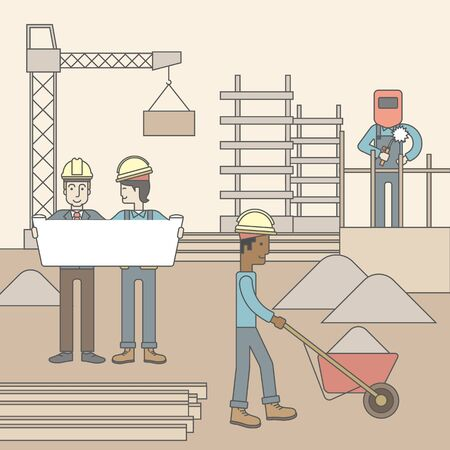 site: Two men considering building project while other builders work at the building site. Vector line design illustration. Square layout.